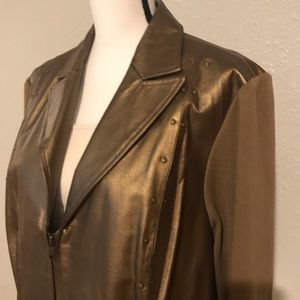 Peter Nygard Gold Leather - Knit Jacket